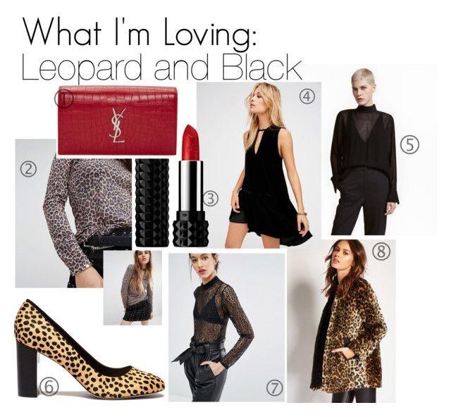 1.  YSL Red Croc-Embossed-Monogram Kate Clutch  | 2.  Tripp NYC Leopard Printed Mesh Top 3. Kat Von D Studded Kiss Lipstick  | 4.  Free People Black Soft Focus Dress  | 5.  H&M Crepe Viscose Blouse  | 6.  Sole Society Leopard Block Heel Pumps  | 7.  Just Female Demi Bodysuit in Leopard Lace  | 8.  Forever 21 Leopard Print Faux Fur Jacket