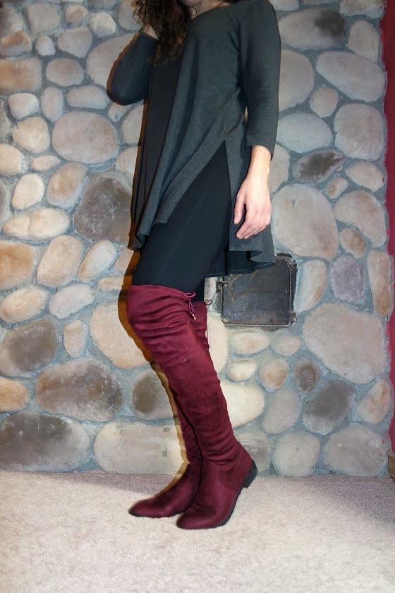 Grey Tunic + Oxblood OTK Boots