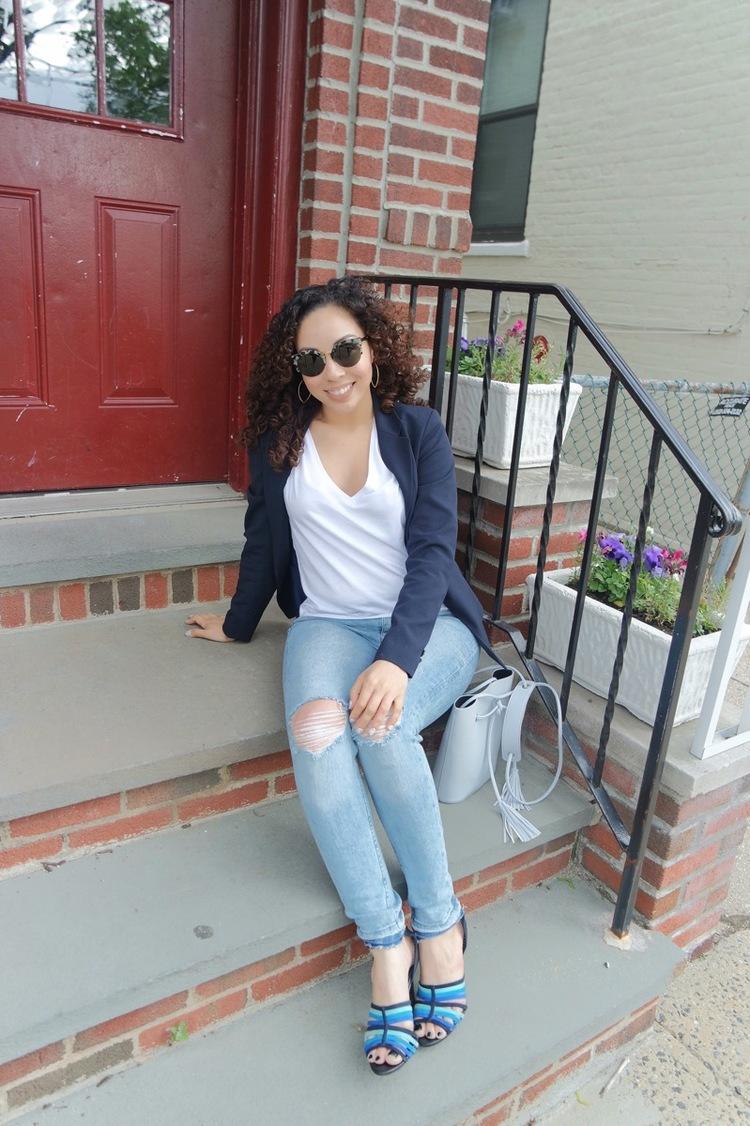 Navy Blazer + Distressed Jeans