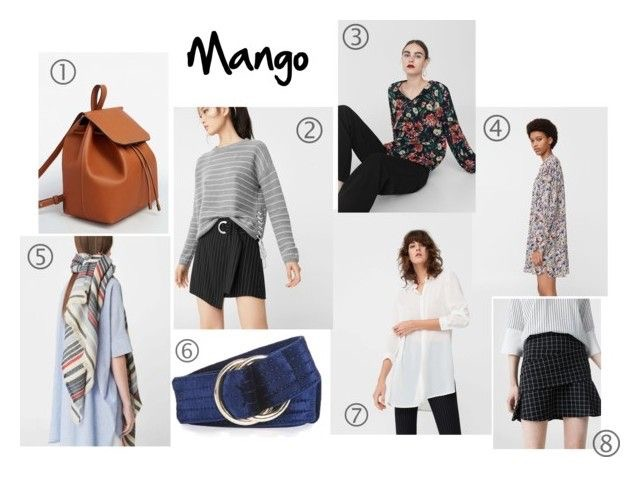 1.  Front Lapel Backpack    2. Braided Cord Sweater   3. Floral Print Blouse   4. Floral Print Flowy Dress   5. Striped Scarf   6. Velvet D Ring Belt   7. Flowy Shirt   8. Checked Flared Skirt
