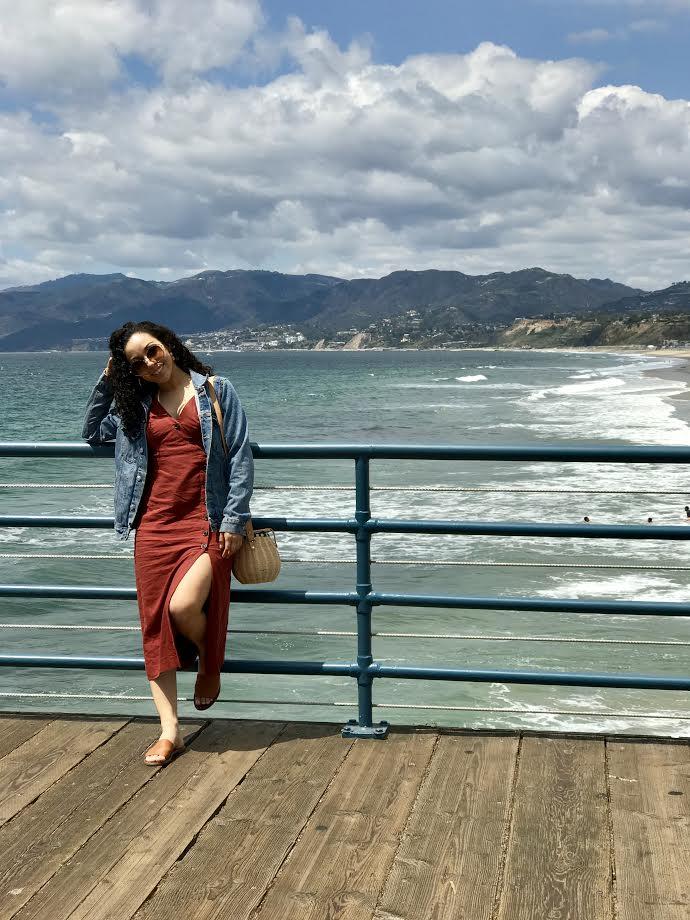 Urban Outfitters Button-Down Linen Midi Dress  | H&M Oversized Denim Jacket | Zara Raffia Bag (old;  similar here ) | Steve Madden Slides via TJMaxx ( similar here )