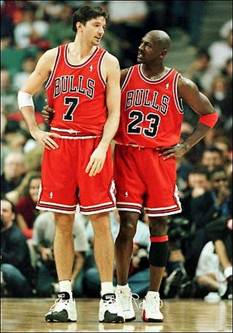 MJ & Toni Kukoc, who won 3 championships as a Sixth Man for the Chicago Bulls and even the Sixth Man of the Year Award for 1995-96.