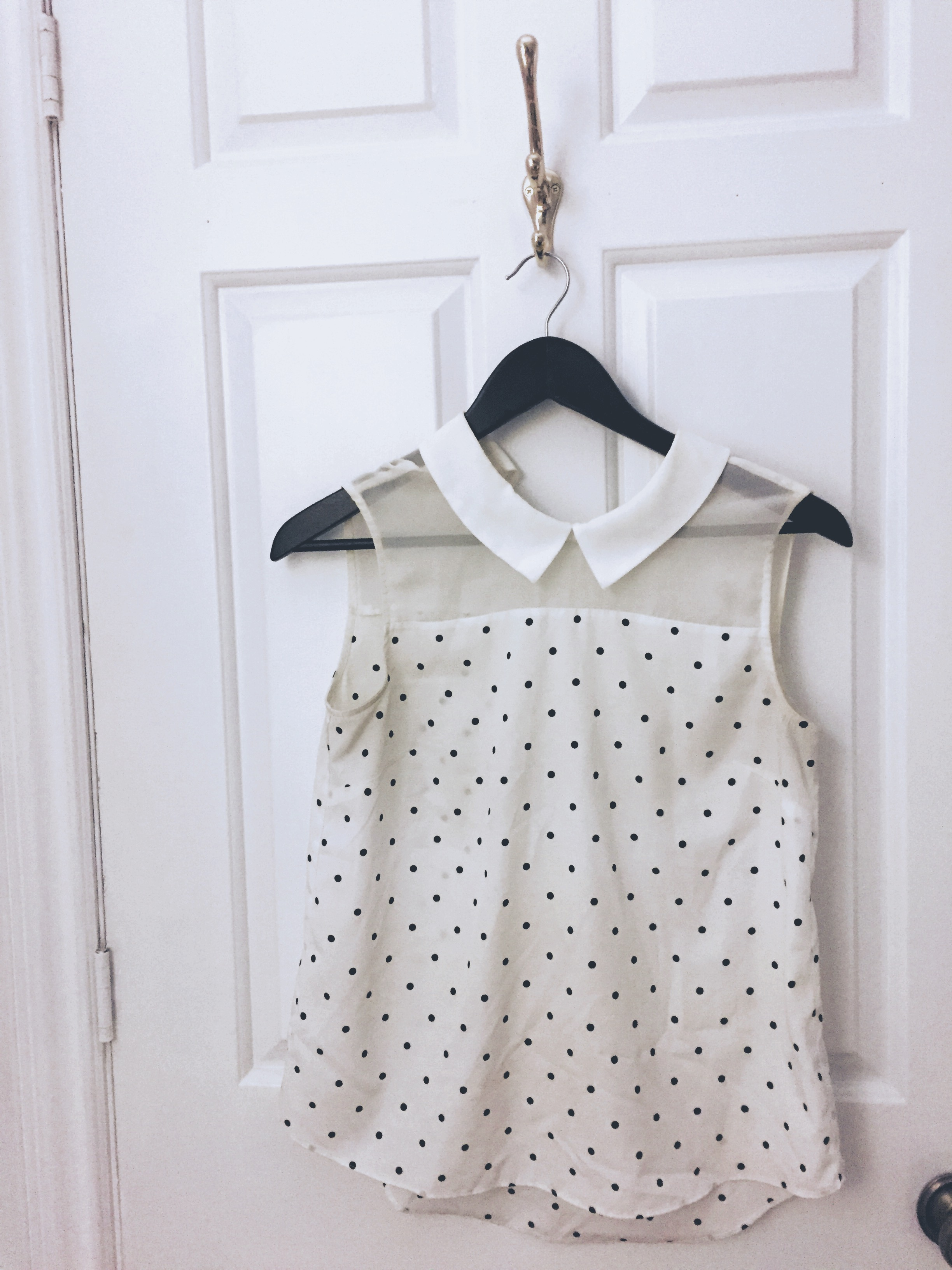 Polka Dot shirt From Hong Kong. Seen many theatre and rehearsal days. Completely stained in the arm pits and around the neck. A sad but warm goodbye.