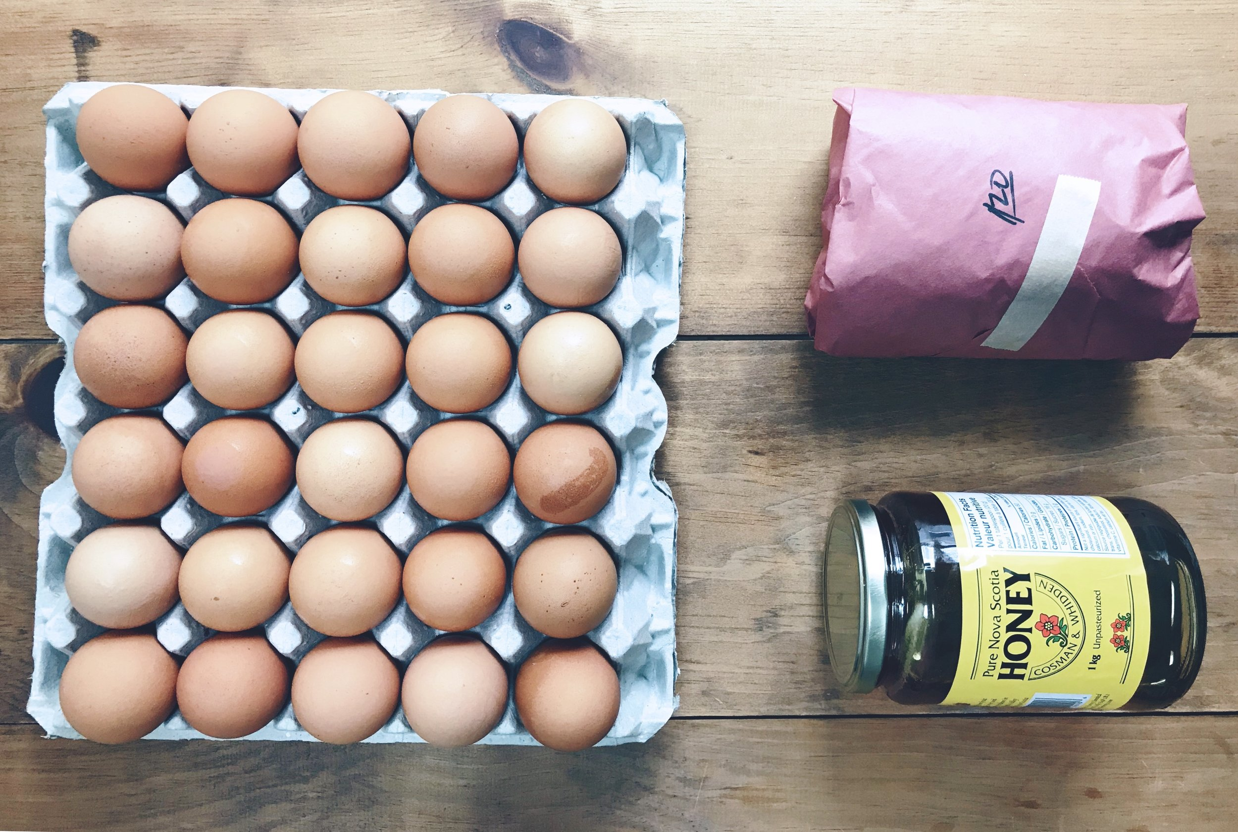 A very small market haul in May. A flat of eggs, jar of honey & sausages.
