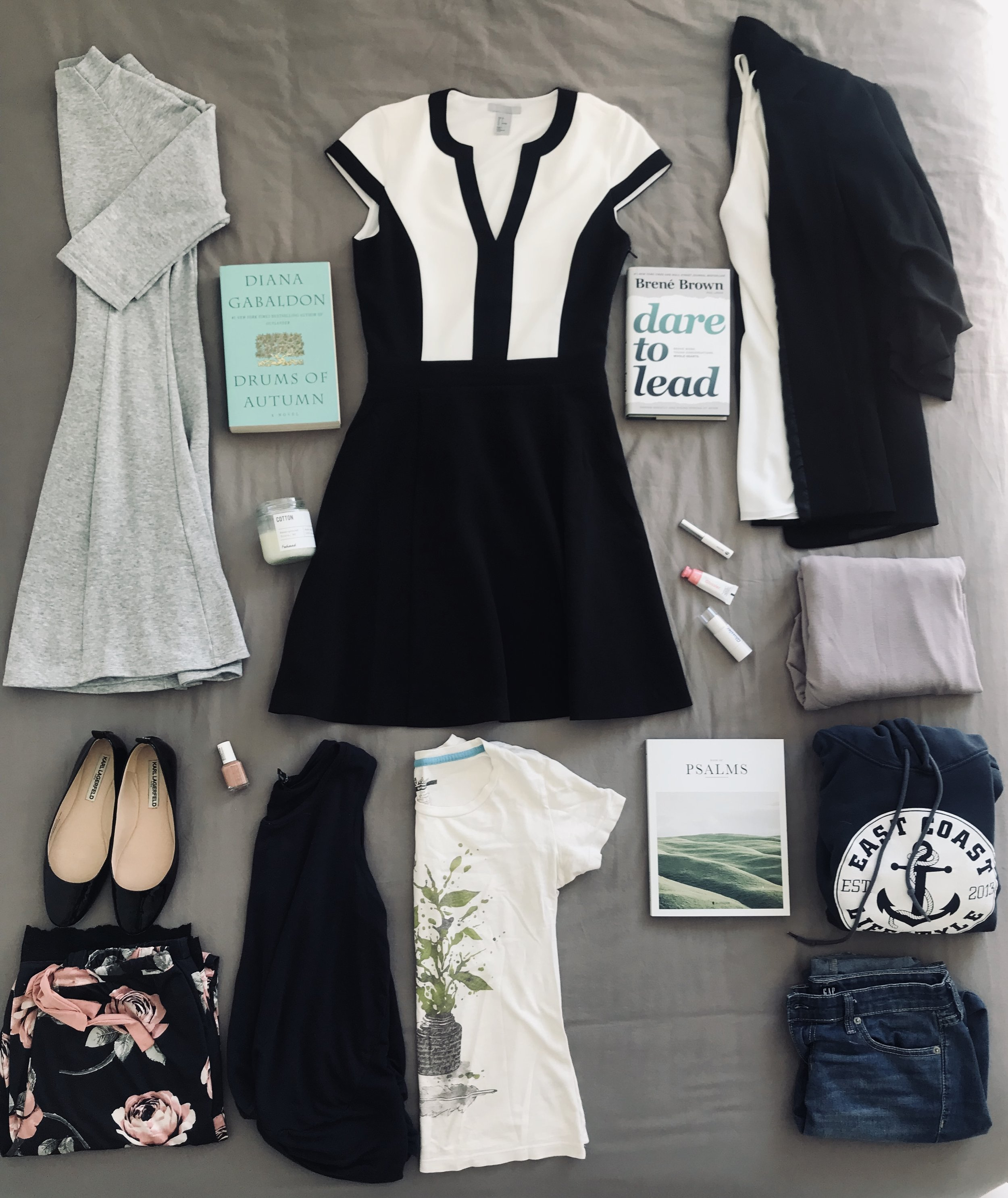 Top Centre - Clockwise  - Black/White Dress   | H&M,   Dare to Lead by Brené Brown   | Indigo,   White Silk Tank   | RW&Co,   Black Blazer   | H&M,   Glossier Tint, Glossier Highlighter, Glossier Boy Brow   | Gift From Jasmine,   Lavender Shirt   | Pseudio,   East Coast Lifestyle Hoodie   | Pseudio,   Psalms  | Gift from Jasmine,  Girlfriend Jeans   | The Gap,   Missing in the gap is Green Pants   | RW&co,   Graphic T   | Threadless,   Blue Tank   | RW&Co,   Silk Rose PJ Pants   | La Vie En Rose,   Patent Leather Shoes   | Birthday Gift from mom,   Essie Nail Polish | Shoppes Drug Mart, Grey Dress |  Second hand from Jasmine,  Cotton Candle   | Foxhound,   Drums of Autumn by Diana Gabaldon   | Indigo