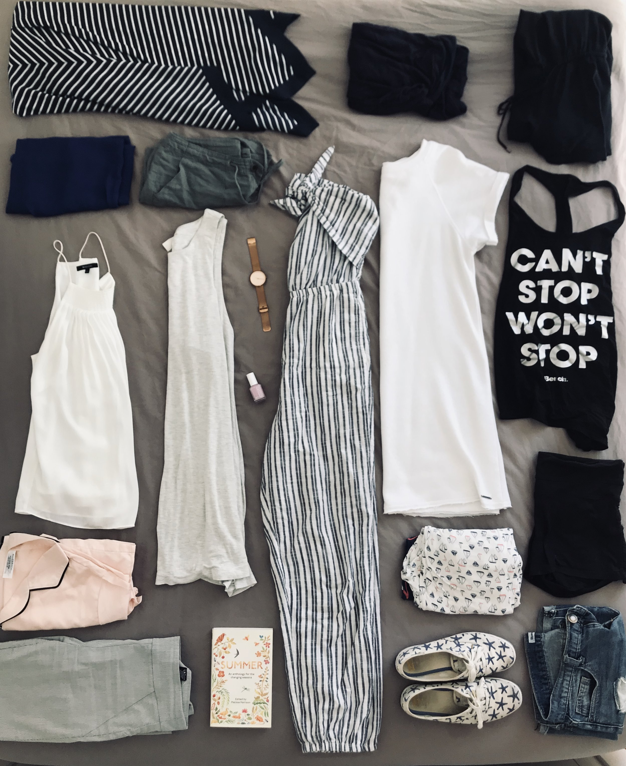 Top Centre - Clockwise: Navy Blue Tank     | RW&Co,   Black Romper   | The Gap,   Can't Stop Won't Stop Tank   | Bench,   White T Shirt Dress   | La Vie En Rose,   Sailboat Pyjamas  |  La Vie En Rose,     Black Shorts  | Winners,  Jean Shorts   | Bluenotes,   Starfish KEDS   | Softmoc,   Blue/White Romper   | Aerie  , Rose Gold Watch   | Fossil,   Essie Nail Polish  | Shoppers Drug Mart,  White/Grey Dress   | H&M,   Summer Anthology   | Amazon,   White/Grey Pin Strip Pants   | RW&Co,   Pink Silk Pyjamas   | ASOS,   White Silk Tank   | RW&Co,   Blue Silk Tank   | ModCloth,   Green Shorts   | The Gap,   Blue/White Striped Dress   | Banana Republic