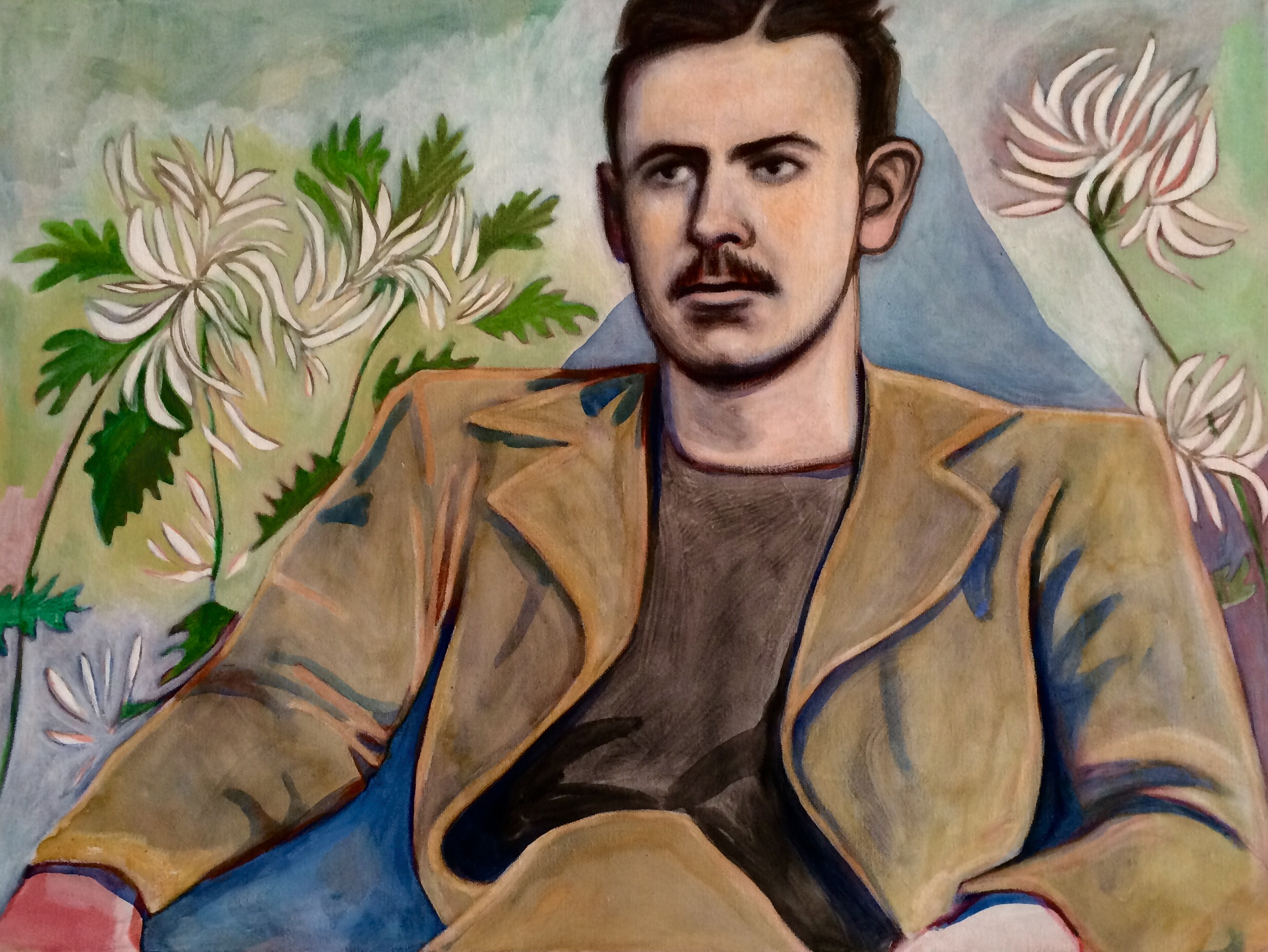 """(sold)    CHRYSANTHEMUMS (JOHN STEINBECK)    oil, gouache, watercolor and acrylic on canvas, 18 x 24"""", 2015"""