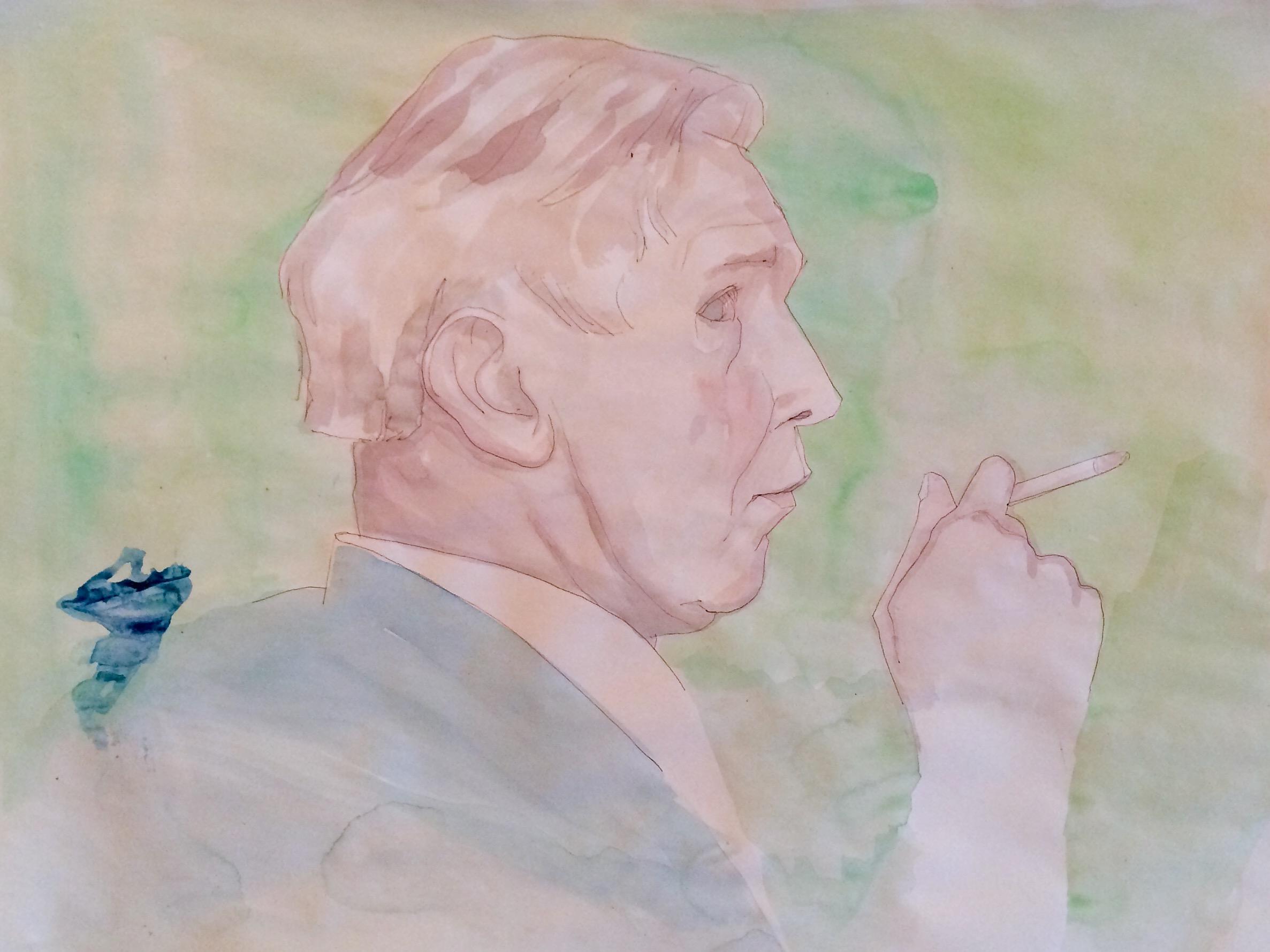 "JOHN CHEEVER    gouache on paper, 18 x 24"", 2015"