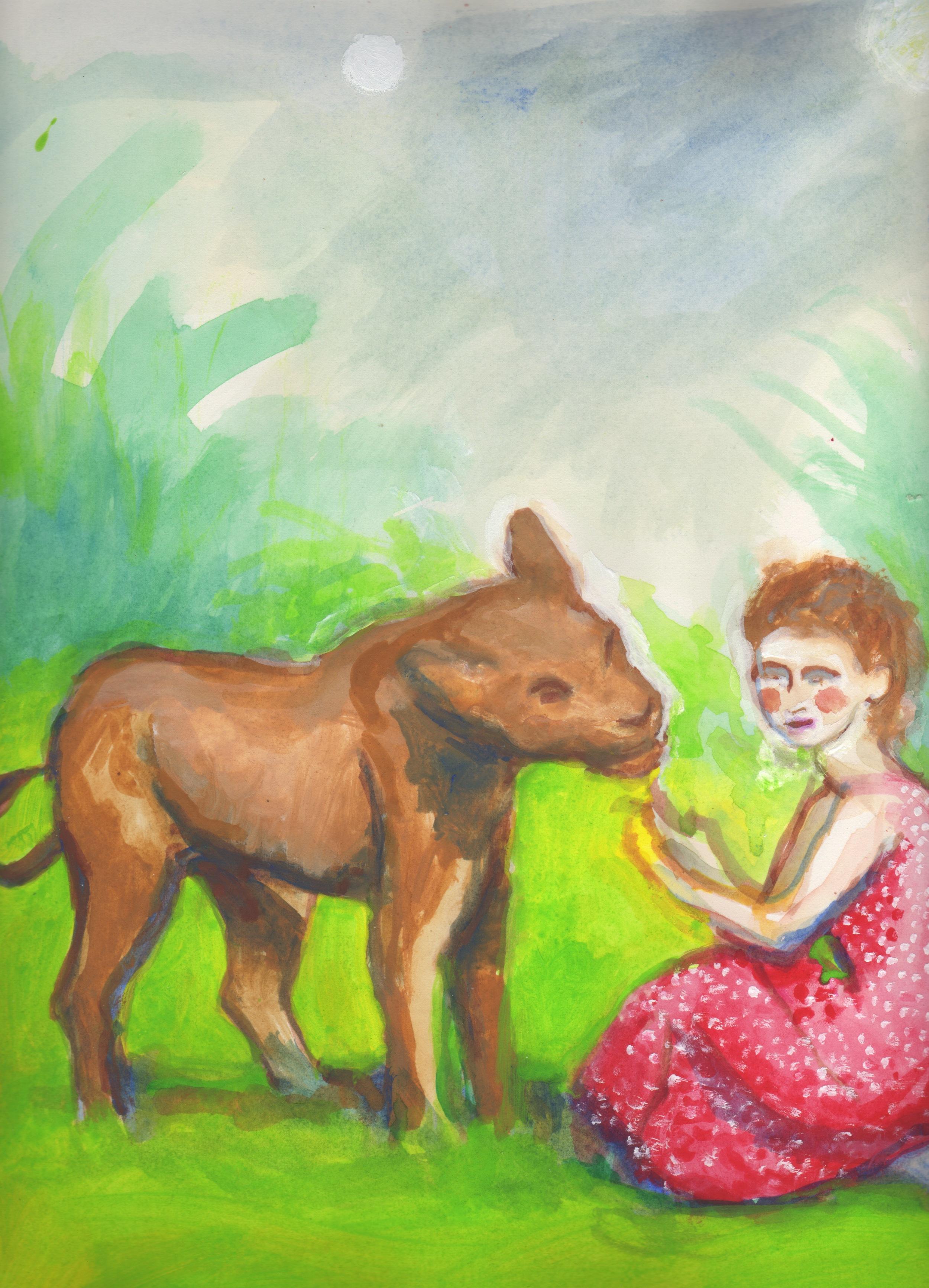 """ELSA AND JOY    gouache on paper, 9 x 12"""", 2012"""