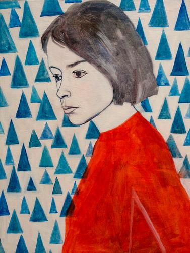 """JOAN DIDION   acrylic, oil, and gouache on canvas, 18 x 24"""",2015"""