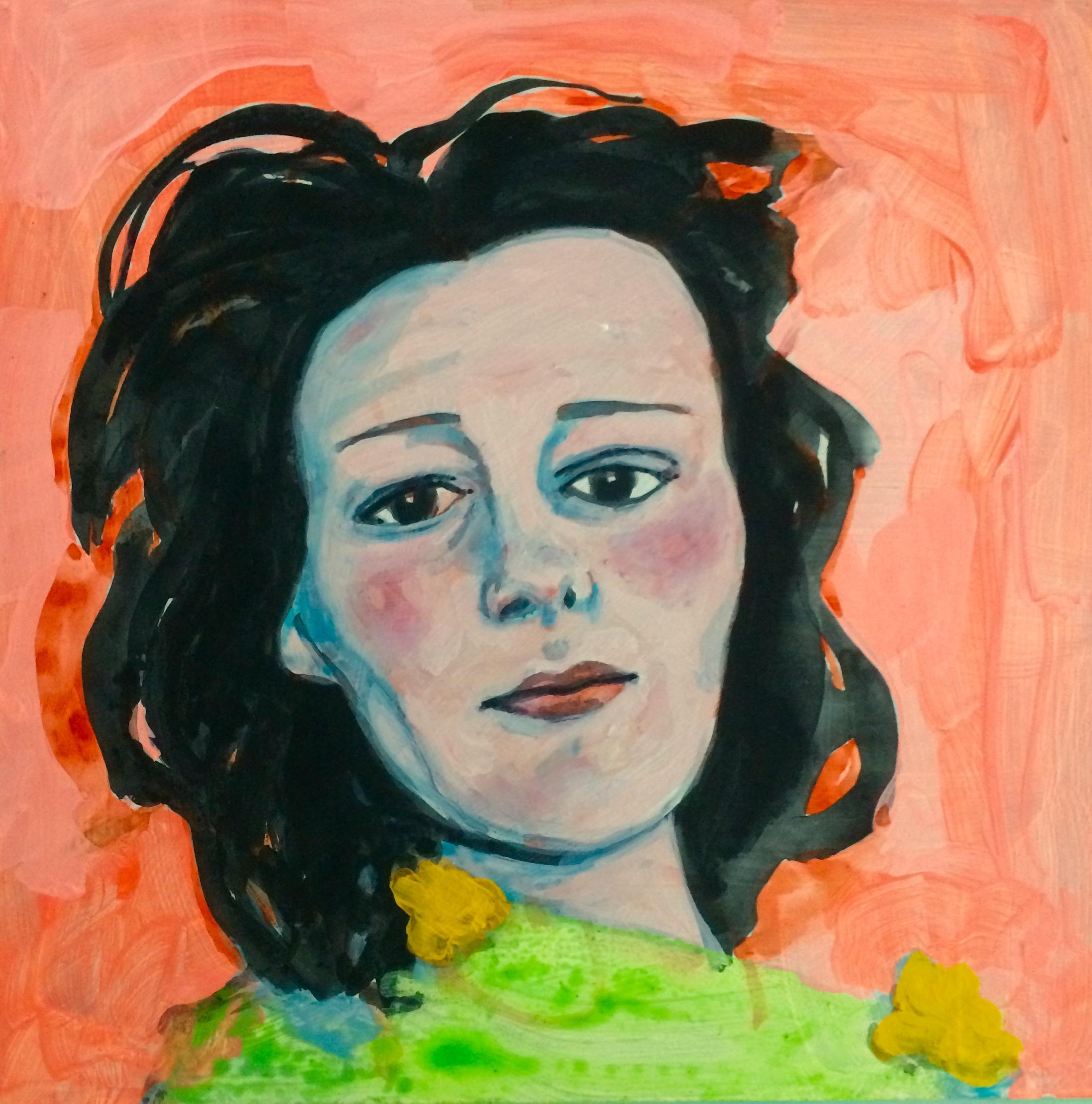 "ANNE SEXTON    watercolor, gouache, acrylic on masonite, 8 x 8"", 2015"