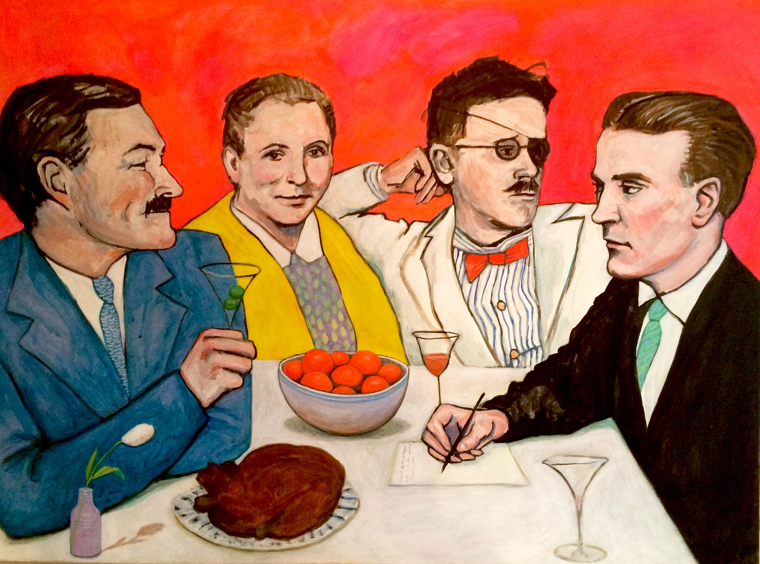 """(sold)    SPARTANS' FEAST: ERNEST HEMINGWAY, GERTRUDE STEIN, JAMES JOYCE, AND F. SCOTT FITZGERALD    acrylic, gouache, and watercolor on canvas, 30 x 40"""", 2016"""