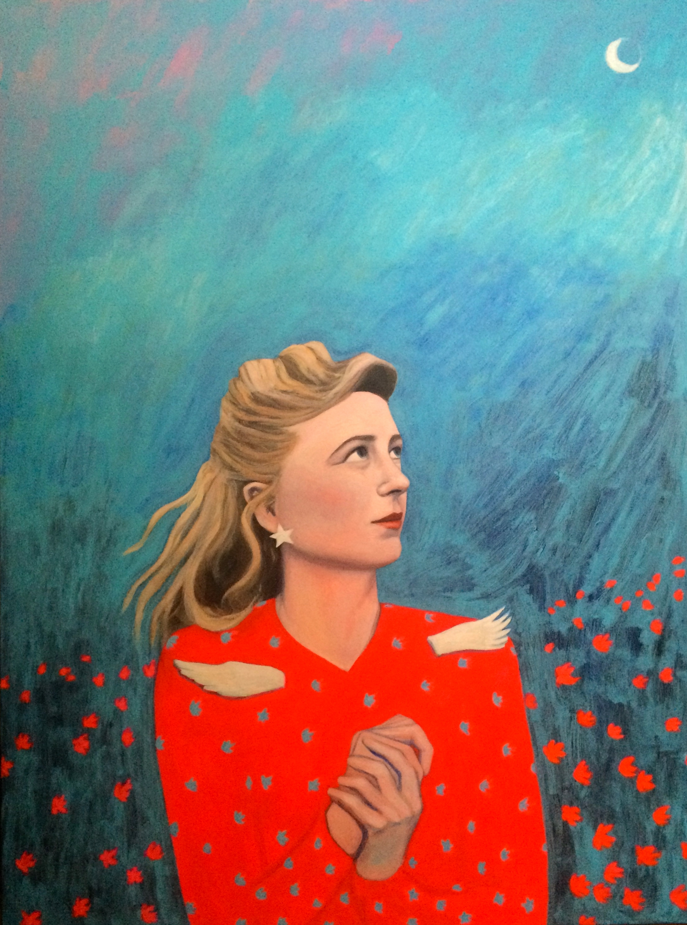 """(sold)    MARGARET WISE BROWN    acrylic, gouache,and watercolor on canvas, 30 x 40"""", 2016"""