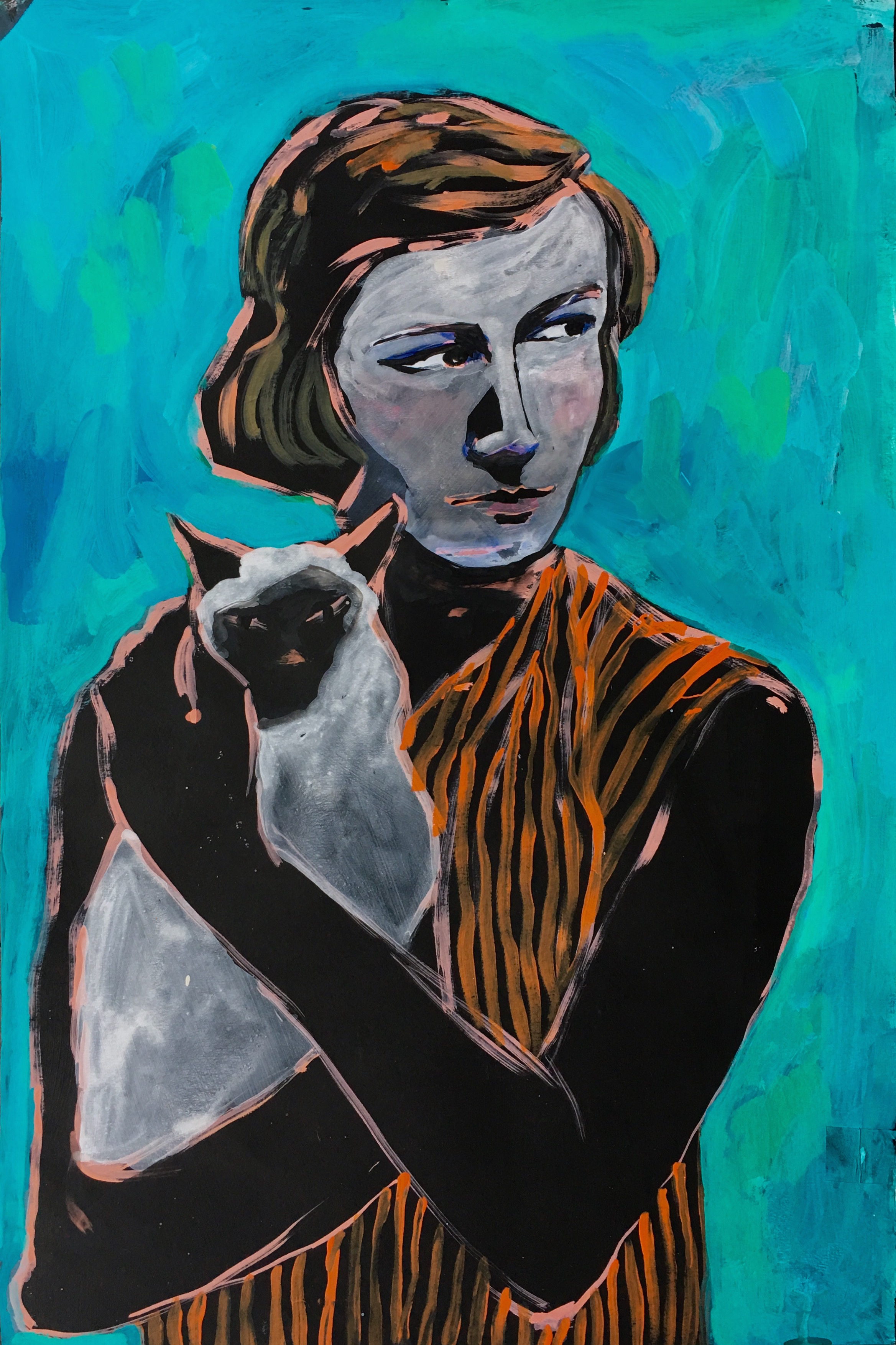 PATRICIA HIGHSMITH    acrylic, watercolor, gouache on paper, 24 in.x 16.5 in., 2016
