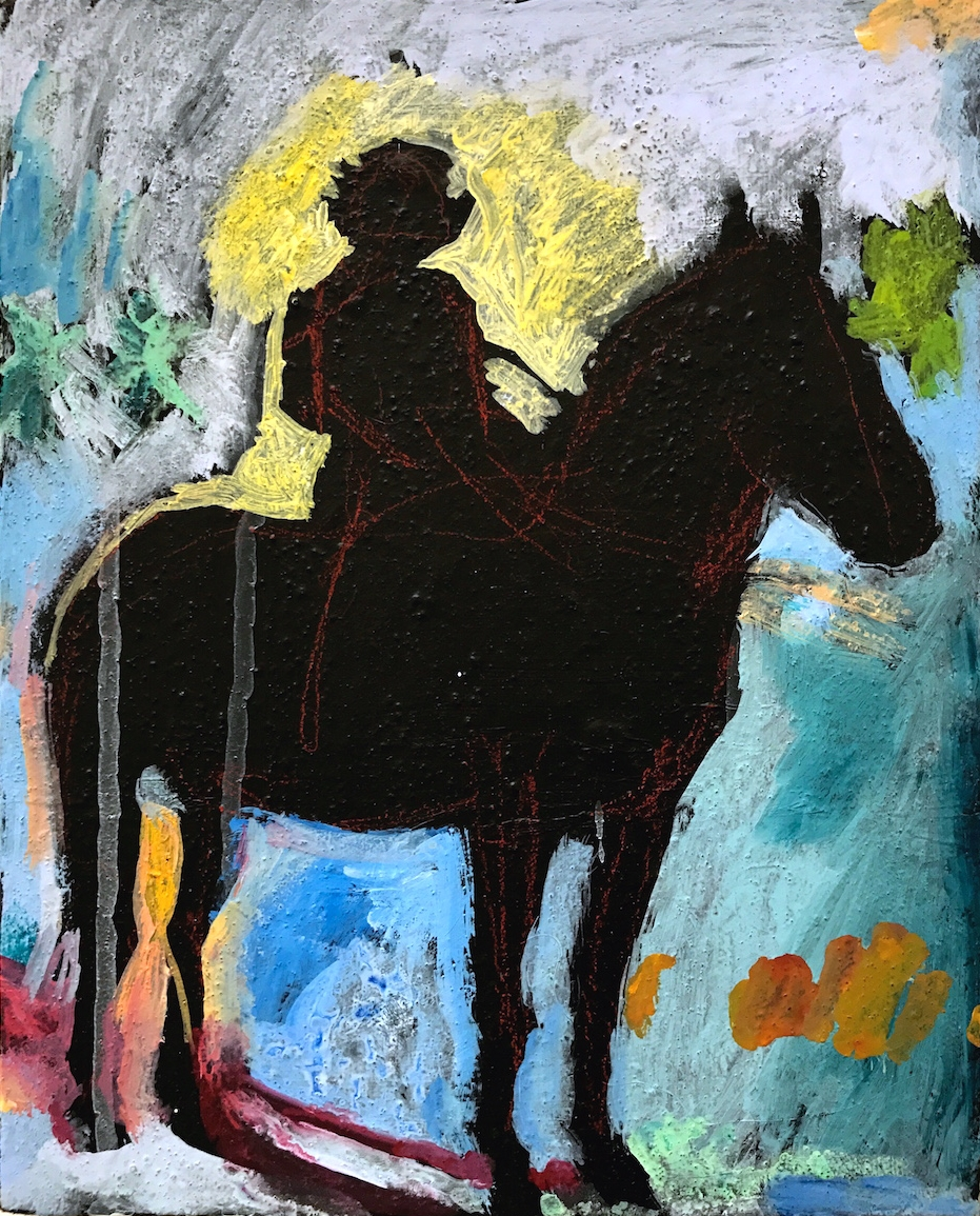 O'CONNOR    Acrylic, watercolor, gouache, sand on canvas, 8 x 10 in., 2017