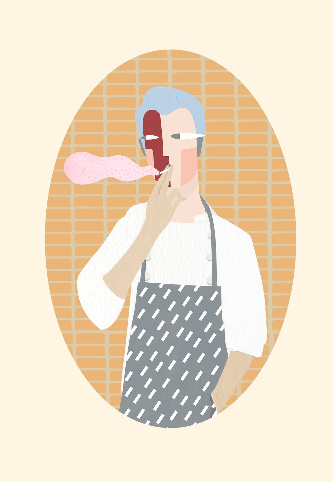 Portrait of a chef on a cigarette break. Brooklyn miniatures. Ongoing illustrated series of regular people, inspired by Deccan miniature portraits of nobles