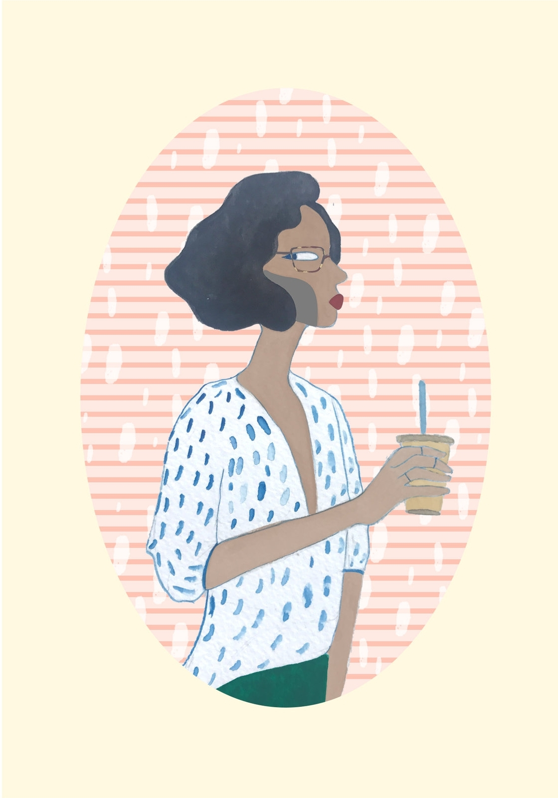 Portrait of a girl in tortoise shell glasses and iced latte. Brooklyn miniatures. Ongoing illustrated series of regular people, inspired by Deccan miniature portraits of nobles