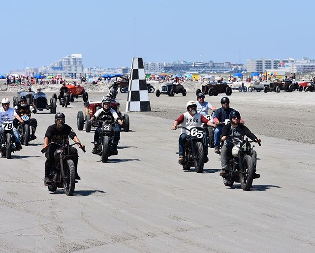Who doesn't love a good ol fashion beach race @t.r.o.g._official 🏁🏁. — See ya there this weekend! #trog #theraceofgentlemen #raceofgentlemen #wildwood #nj #ride #groupride #travel #moto #motofam #beach #race