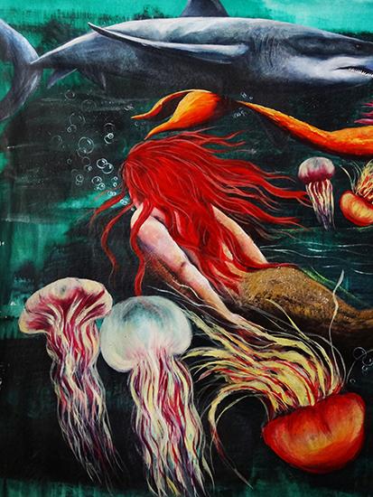 Jellyfish and Mermaid (Detail)