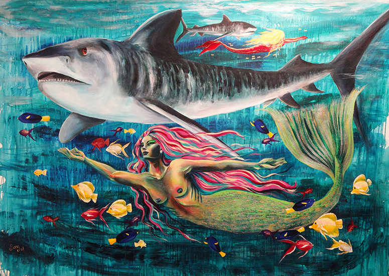 Tiger Shark and Mermaid
