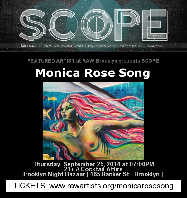 I am delighted to announce that I will be debuting my recent life-sized Shark and Mermaid paintings on Thursday, September 25th, 2014 at Brooklyn Night Bazaar - 165 Banker Street. Click here for a MAP. The exhibition is full of MAGIC from 7pm-Midnight.    Thisone night extravaganza will include an art gallery, performing artists, musical performances, film screenings, and a fashion show!There will also bearcade games, food trucks, and a beer garden (CASH ONLY soplan accordingly).    Please click  HERE  to purchase a ($15)ticket by September 18thand be sure that you are choosing to support me! I hope to see youthere;it is going to be amazing!