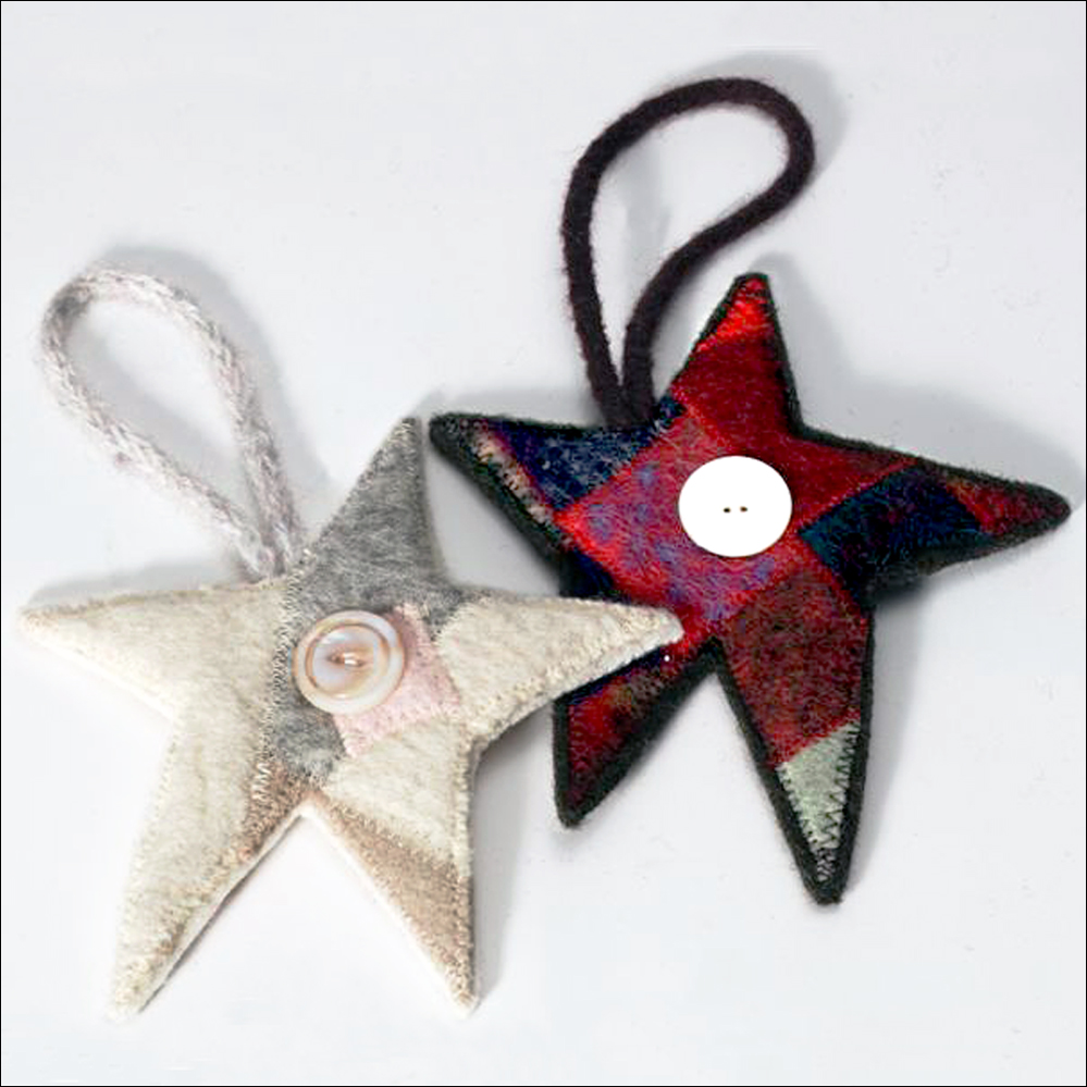 Two of my early felted wool patchwork stars.