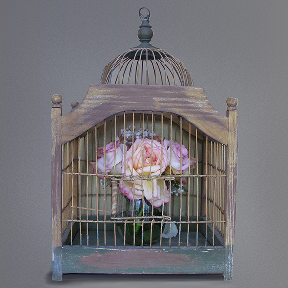 flowers in an antique birdcage