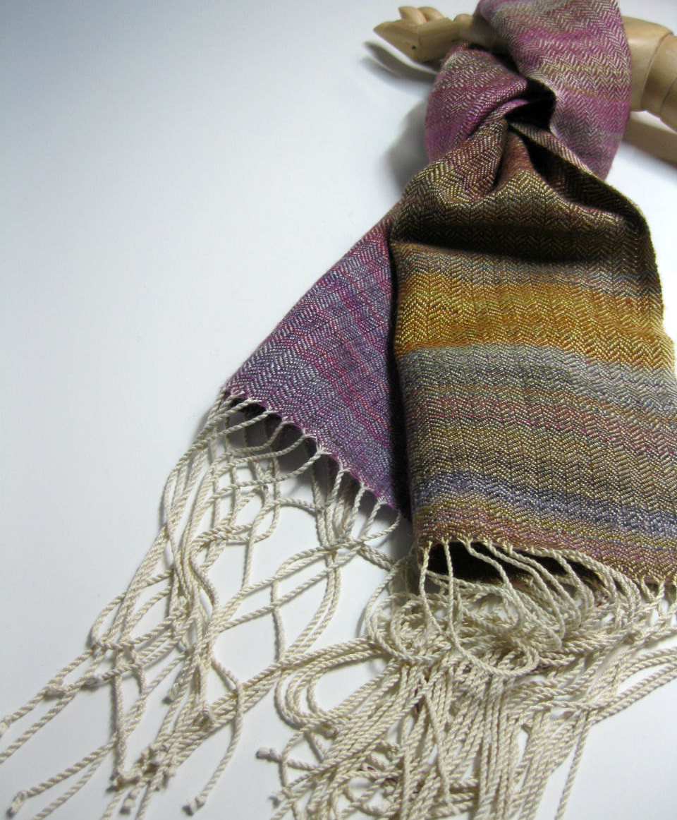 MY CHRISTMAS SCARF, HANDWOVEN BY  MARGERY MEYERS HABER . PHOTO ::  MMHANDWOVENS .