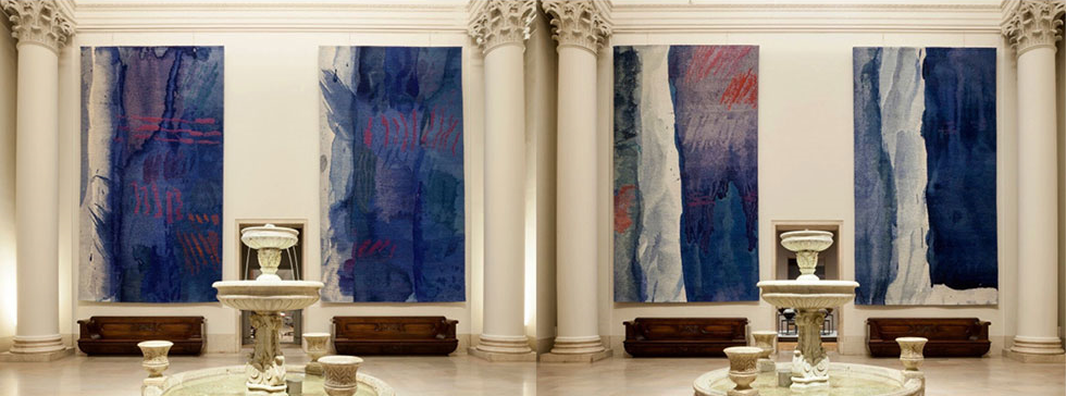 BLUE WASH I and BLUE WASH II - 1984 20' x 11' Displayed in Fountain Court, M  inneapolis Institute of Art . Photo: Minneapolis Institute of Art. Go to MIA to see Hernmarck's tapestry titled,   Tablecloth from a five-piece set  ; it is astonishing.