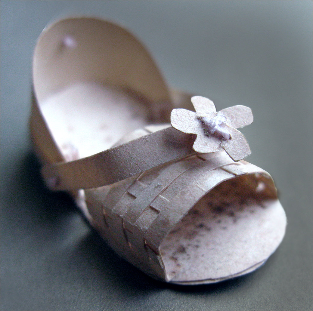 TINY WOVEN PAPER SHOE :: ONE INCH LONG BY HALF INCH WIDE