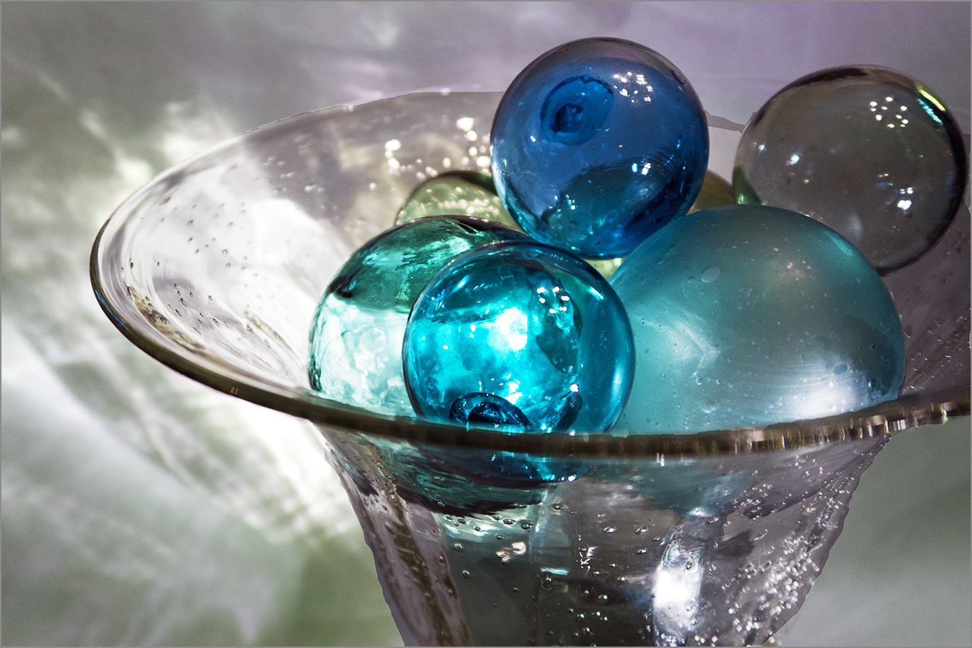 glass floats sur la table
