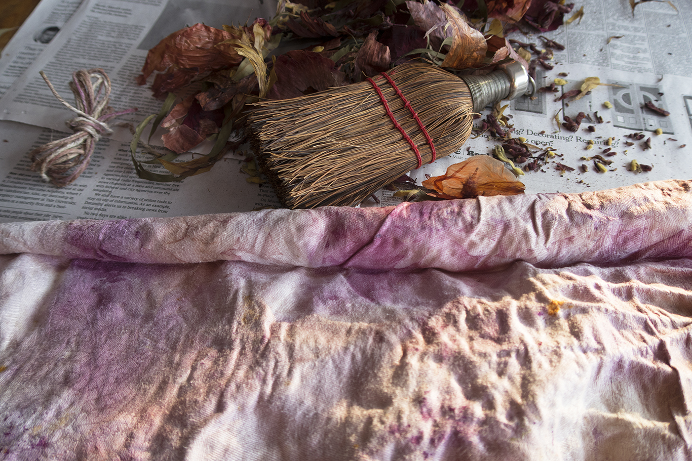eco dyed cloth & whisk broom