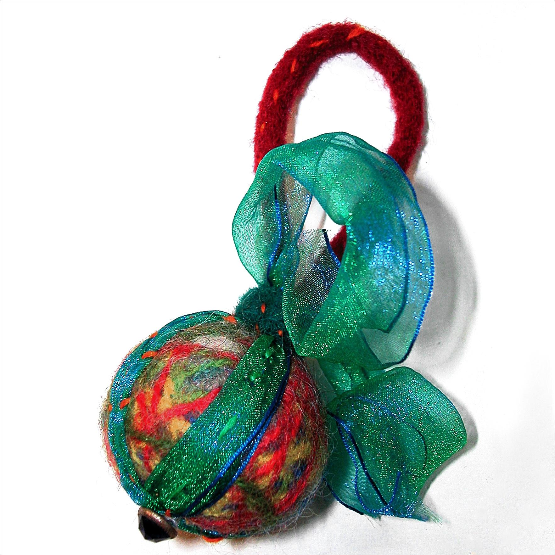 wool ball ornament green red.jpg