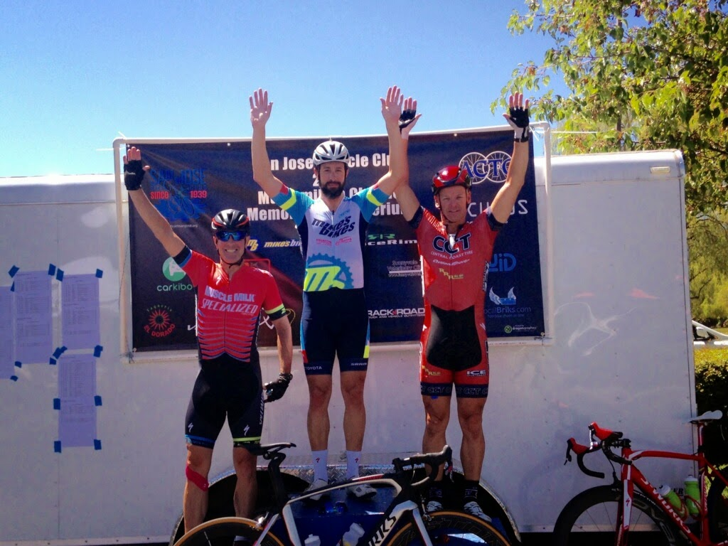 This podium knows that safety always comes first.  Cagey and tactical veteran Dave Allen wins the Memorial Day Crit in the 45 1/2/3s.