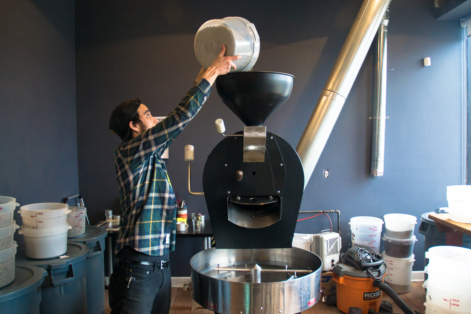 Dumping into the top of the roaster