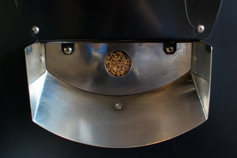 Beans rotating, as seen through the sightglass
