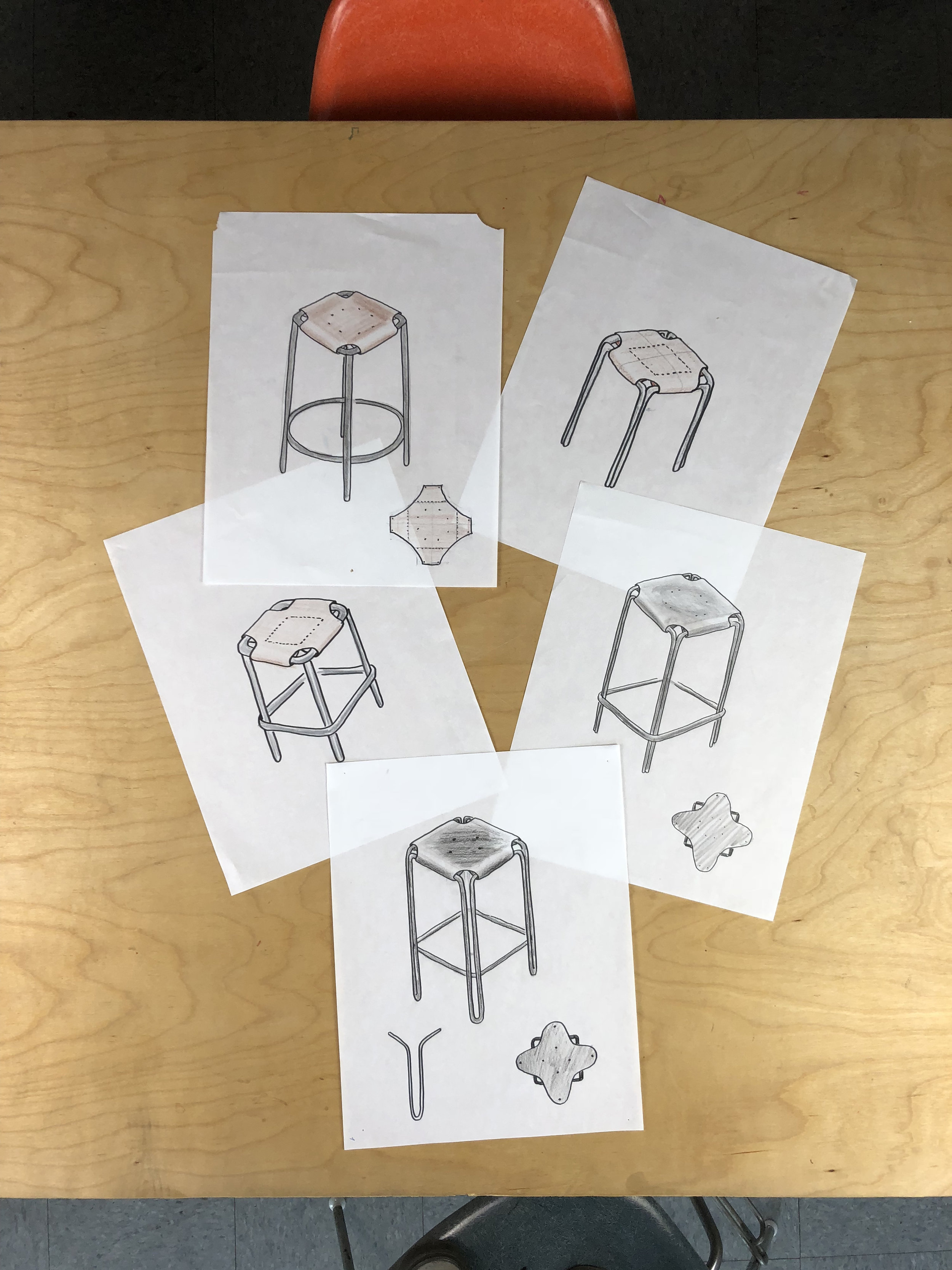 """- Stool Nº1 started as an exploration in bent wire stool construction—in these early sketches designer Craighton Bermanwas playing with different tubing forms for the frame, as well as various seating materials—including a leather sling. The bottom 'hairpin leg"""" concept was a breakthrough, as it allowed for a thinner gauge wire to be used. This meant the design could be visually light while still maintaining strength."""