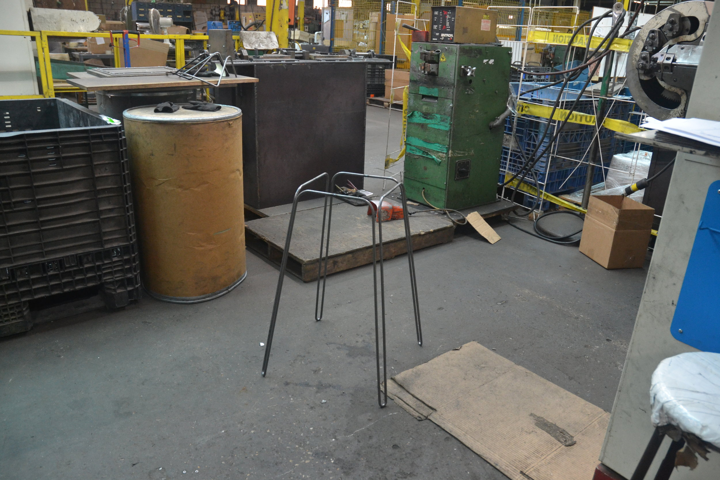 - Welding is where the automated manufacturing moves back to manual. The legs of Stool Nº1 are butt welded and adjusted by hand to reach the final form. Afterwards they have the final details added—the foot rest, the 4 metal tabs that attach the seat, and the optional floor protector feet.