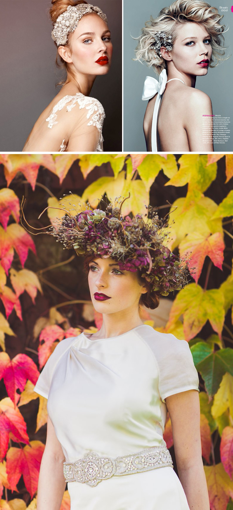 Top left image: www.aubresbridal.com; Top right image: Chris Nicholls; Bottom image: www.rockmywedding.co.uk