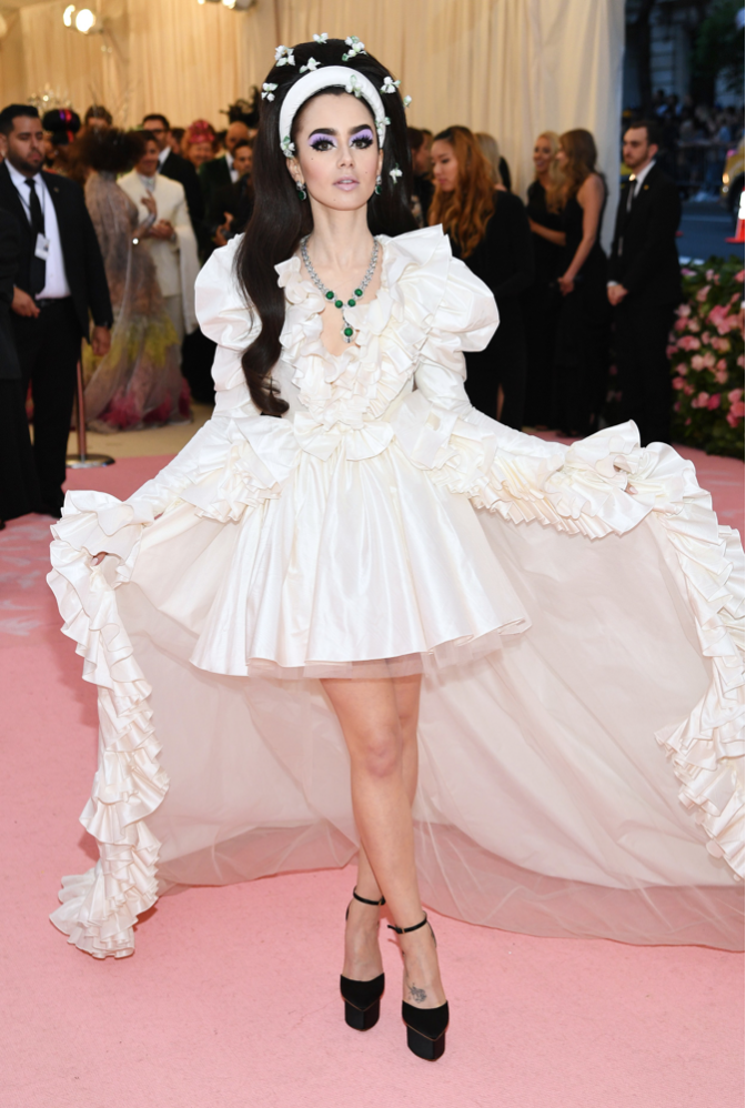 Lily Collins in Giambattista Valli Haute Couture (inspired by Priscilla Presley)