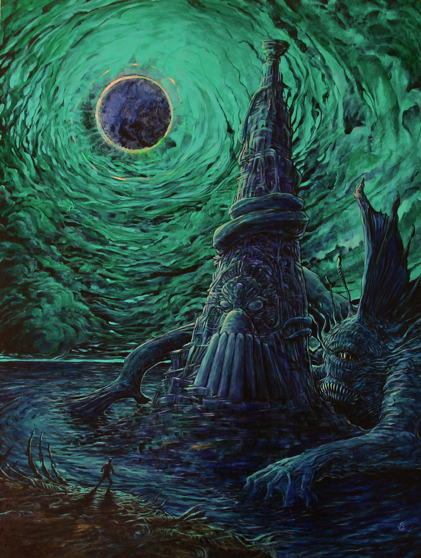 """Dagon"" (2018) Acrylic on Board"