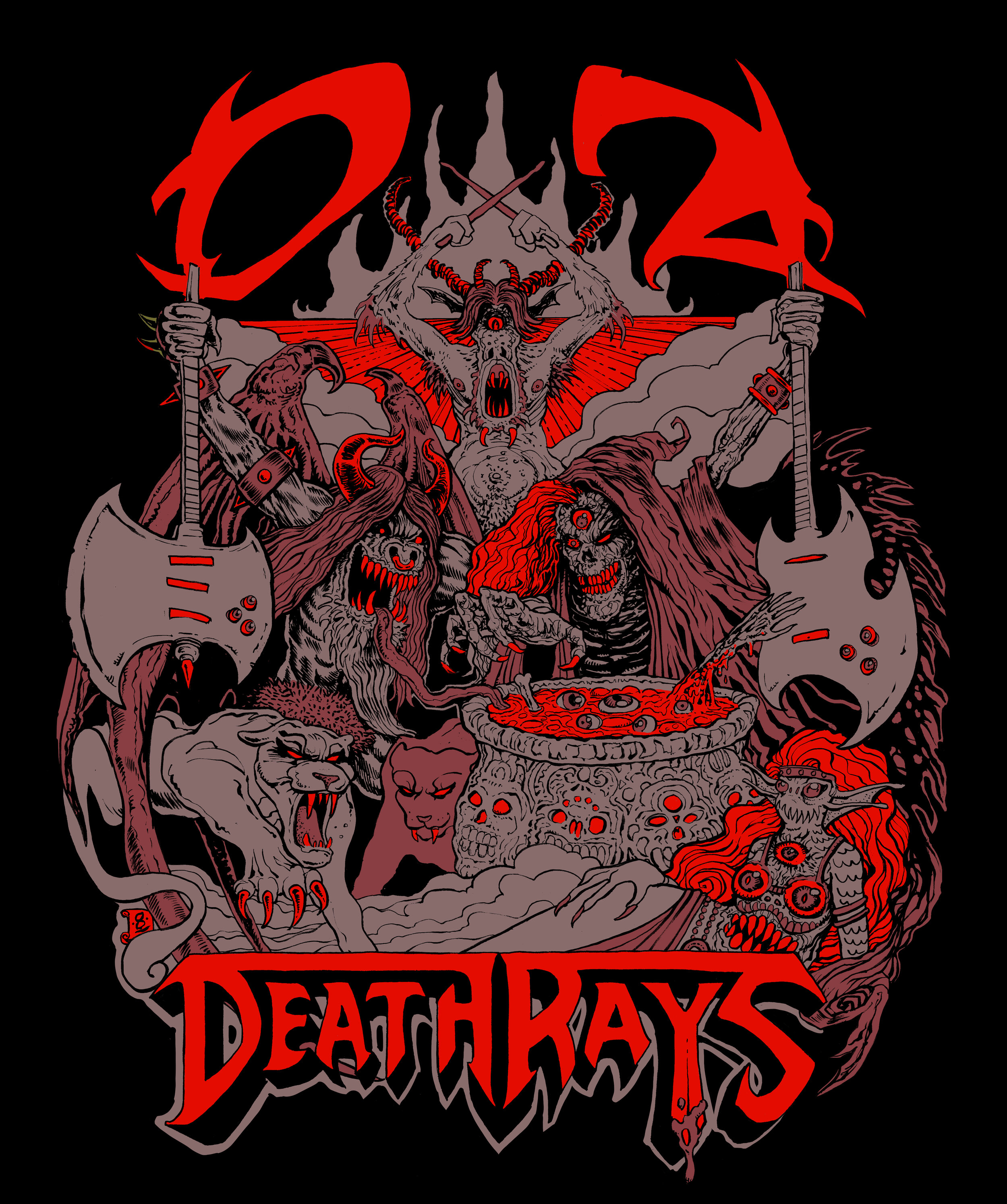 DZ Deathrays  shirt/poster design (2019)  Ink (with digital colours) on Bristol