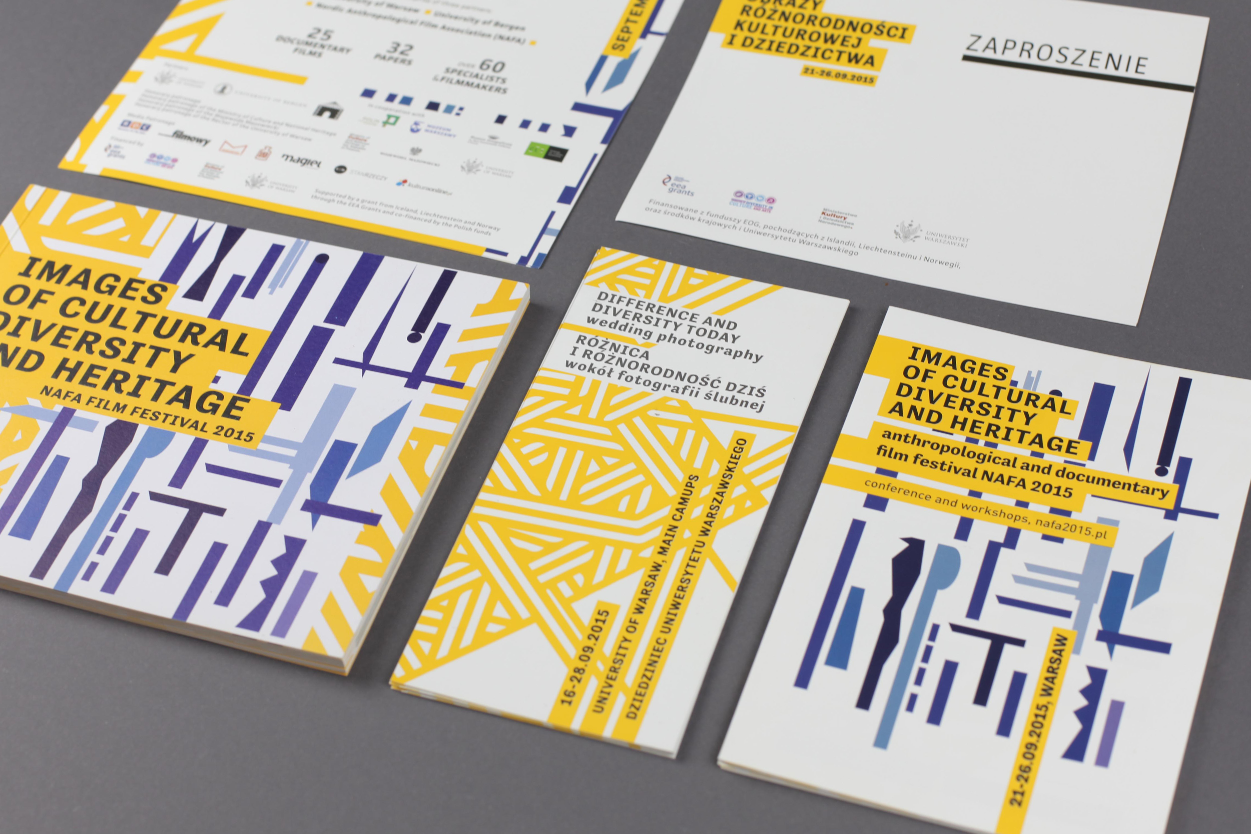 IMAGES OF CULTURAL DIVERSITY AND HERITAGE    graphic design, layout, full event ID   This project was the outcome of the partnership of three institutions: the University of Warsaw, the University of Bergen and the Nordic Anthropological Film Association ( NAFA ).