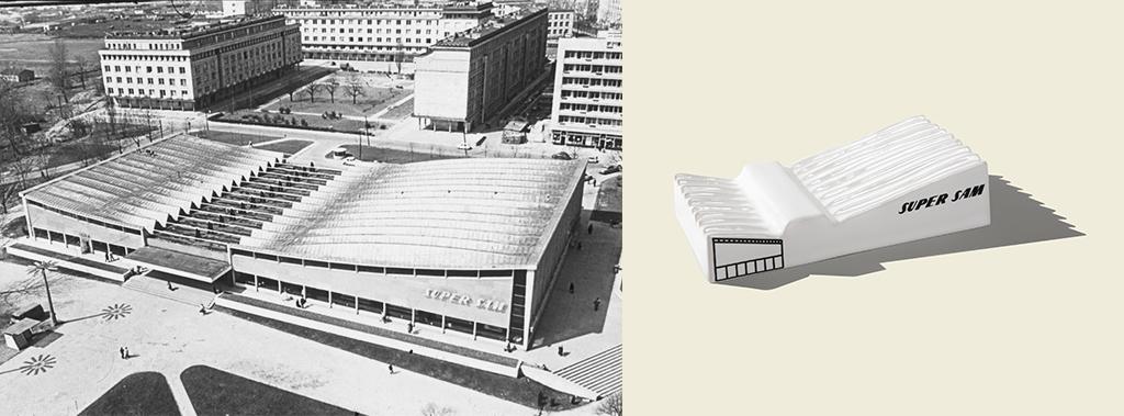 SuperSam - modernist supermarket in Warsaw, at Mokotowski square, built in 1962, designed by Jerzy Hryniewiecki,Maciej Krasiński and Ewa Krasińska; with structural engineer Wacław Zalewski, first self serve supermarket in Poland;one of the greatest achievements of modernism in Poland.Demolished in 2006 ( photo: Tadeusz Borucki)