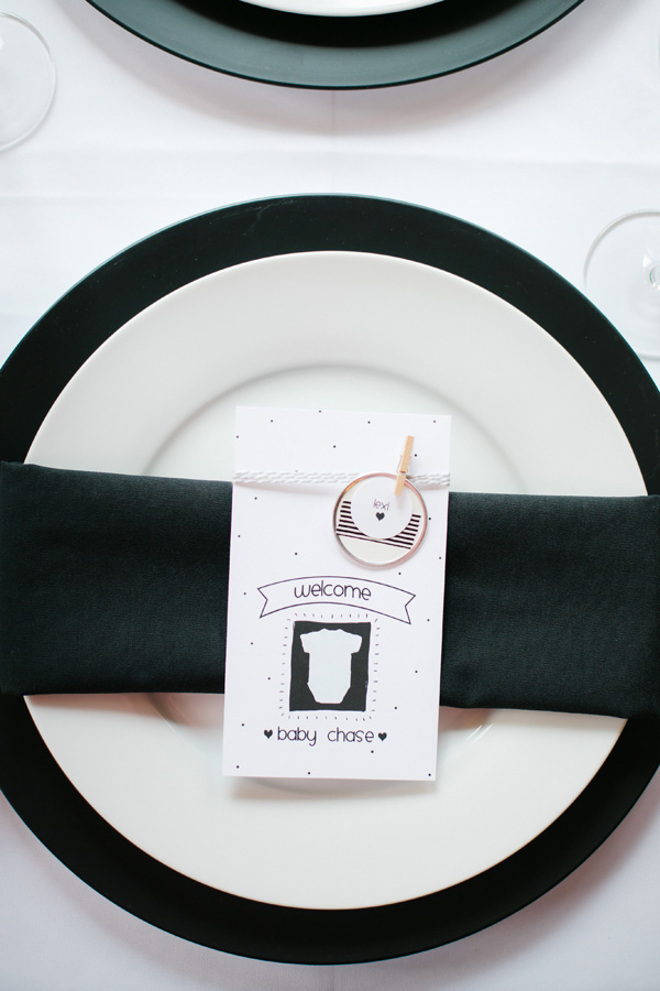 Stylish baby shower table place setting