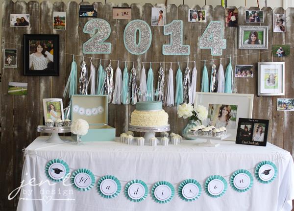 Graduation Party Decoration Ideas - Pretty graduation table! JenTbyDesign.com