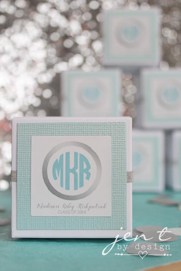 Graduation party favors personalized - love the monogram!  JenTbyDesign.com