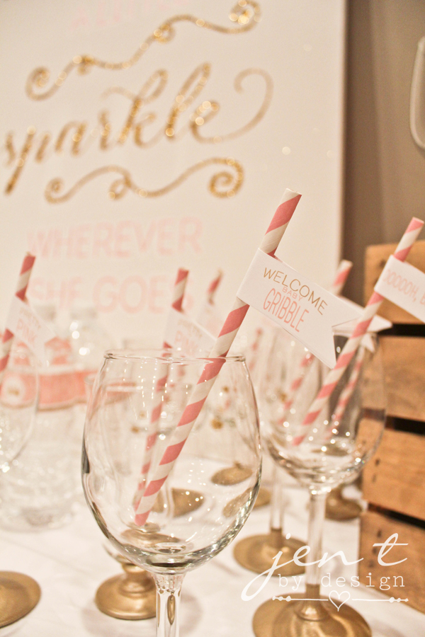 Pink and Gold Baby Shower Straw Flags