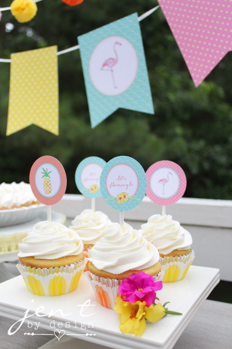 flamingo and pineapple cupcake toppers