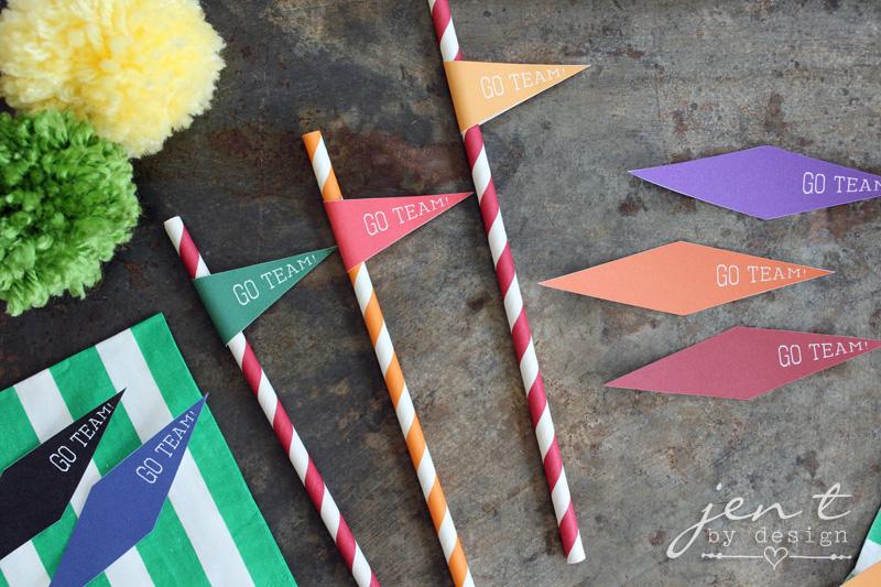 Football Tailgate Ideas - FREE Printable Pennant Straw Flags